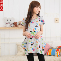 2013 Summer Maternity t-shirt  fashion maternity clothing pregnant  fat women's top Painted doodle dot pattern  tees