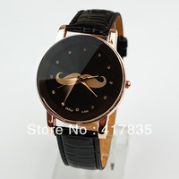2013 new high-end retro-bearded men and women leather quartz watch free shipping 4 colors   black  62976