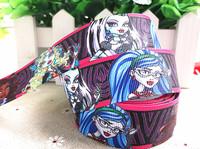 2013 new arrival 1''  25mm cartoon girl printed grosgrain ribbon cartoon girl cartoon ribbon 10 yards tape