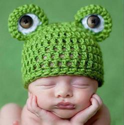 Lovely Newborn milk cotton hats Baby Crochet Knitting Flower Cap photography props Frog hat children Headwear