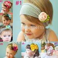Lovely Ovely Cotton Girls Baby Flower Headband Hairband Bow children infant toddler girls photo props headbands 2pcs HB128