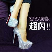 2013 spring and summer ultra high heels crystal wedding shoes handmade rhinestone single shoes size genuine leather waterproof