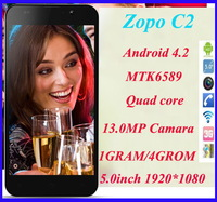 "Original ZOPO C2 MTK6589 Quad core Android 4.2 phone 5.0"" 1920*1080 13MP Camera SG post free shipping"