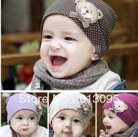 In stock 10pcs/lot New style wholesale fashion baby hat baby cap baby bear hat infant hat infant cap headress children cap