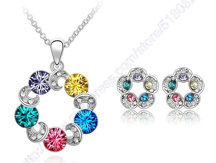 Free shipping Hot sale 18K White gold plated Colorful Ferris Wheel Crystal necklace & stud earrings women's Costume Jewelry(China (Mainland))