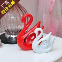 Fashion ceramic crafts home decoration wedding gift lovers swan decoration