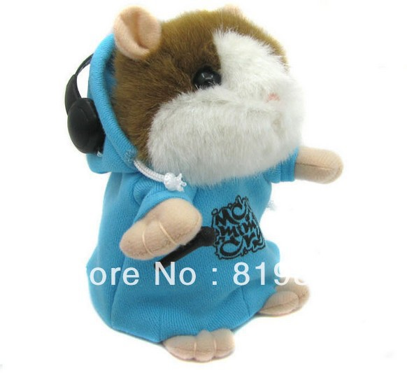 Free Shipping NEW Style DJ Rapper Mimicry Pet Wear Clothes Talking Hamster Toy for Kids Repeat Talking Plush Toy,Voice Control(China (Mainland))