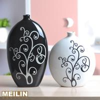 28 fashion ceramic vase crafts decoration flower modern fashion brief black and white vase