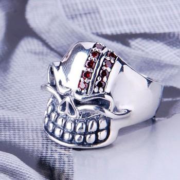 Hechos a mano de tailandia 925 anillo de plata cráneo anillo de hombre