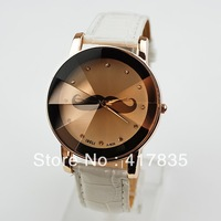 2013 new high-end retro-bearded men and women leather quartz watch free shipping 4 colors   brown  62977