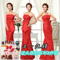 The bride wedding dress red lace long design tube top evening dress bridesmaid wedding dress formal dinner dress 2013