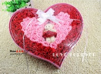 Free ship soap rose flowers , gift packing , fashion room decoration, red color ,92 pcs + 1 pcs of wedding bear ,hot sell