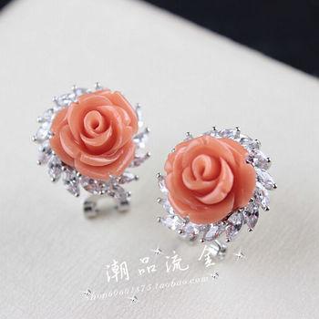 Plate pink coral sallei carved flower cerkonier earring stud earring earrings female