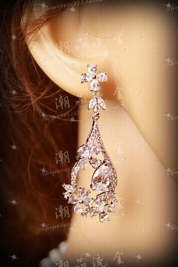 Sparkling zircon female earrings marriage