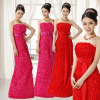 Free Shipping Wedding dress evening dress red tube top wedding dress evening dress fish tail long design formal dress  XXXL