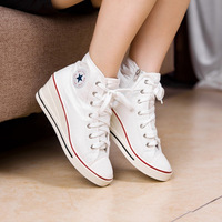 2013 spring shoes fashion high-top shoes wedges shoes lacing all-match women's vivi canvas sports casual shoes