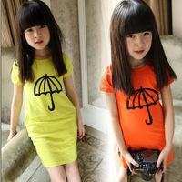 HOT SALE 2014 summer excellent quality female child kid's elastic long design t-shirt slim hip dress baby girls mini dress  _10