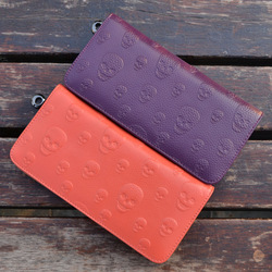 2013 spring and summer fish skull embossed zipper long design wallet women's cowhide wallet day clutch purchasing agent of(China (Mainland))