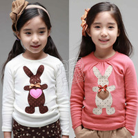 2013 spring love rabbit girls clothing baby child long-sleeve T-shirt tx-1355 basic shirt