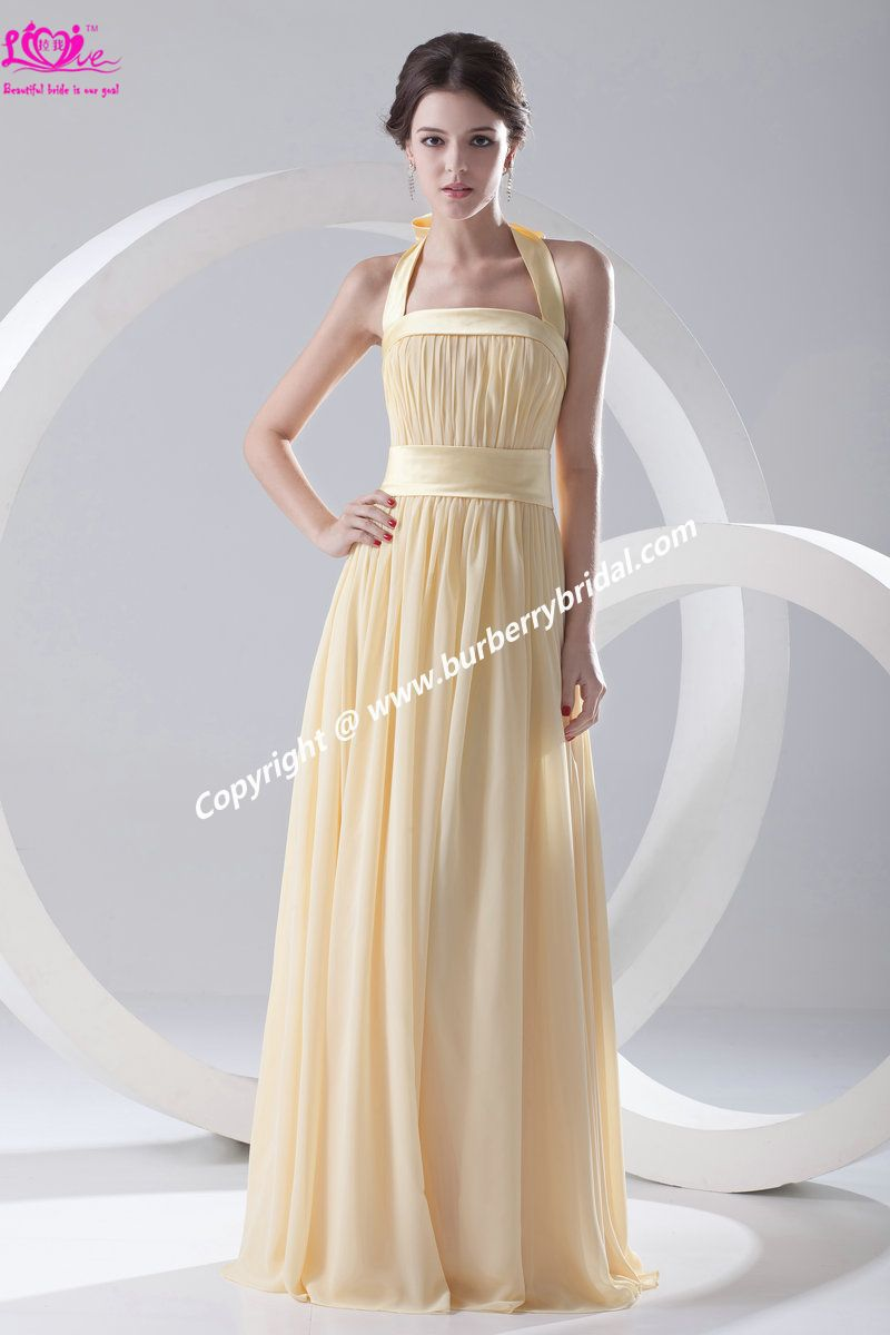 New Custom Made Pleat Halter Straight Chiffon Elegant Reasonable Price Prom\Evening\Party\Cocktail Dress\Gown(China (Mainland))