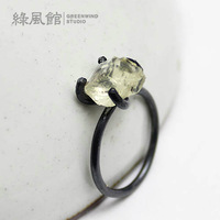 Birthday gift 925 silver yellow crystal raw ore ring surface ring fashion