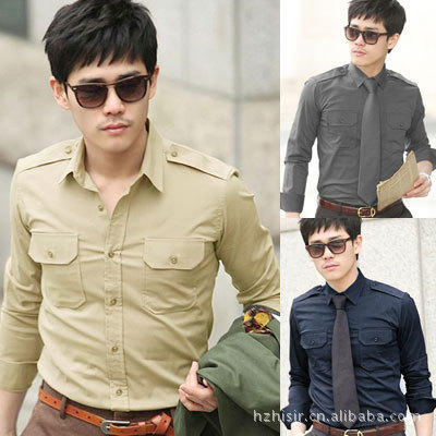 [Foreign trade special for] 2013 men's long-sleeved shirt tooling shirts 6-color khaki A10(China (Mainland))