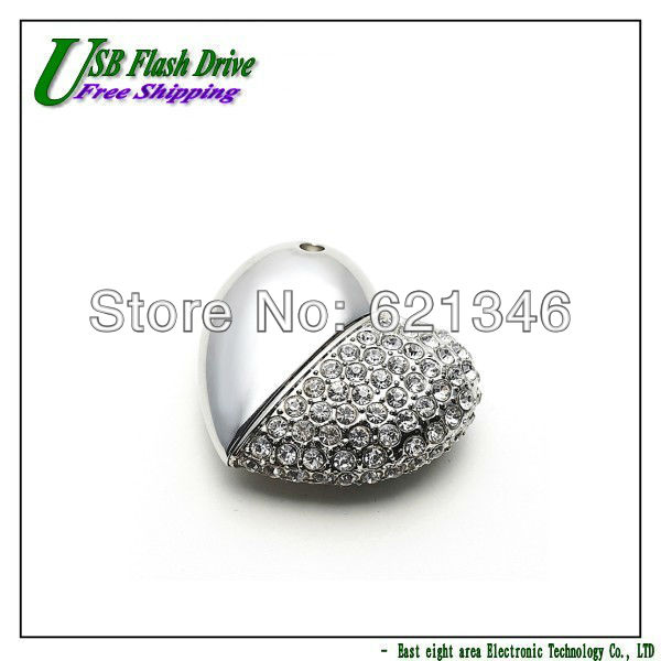 Free Shipping Heart Shape Crystal Diamond Jewelry USB Flash Memory Drive Necklace Pendant - 2GB 4GB 8GB 16GB 32GB 10pcs/lot(China (Mainland))