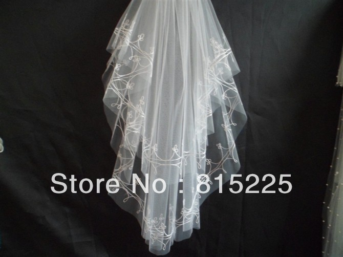 2013Stunning New Charming Wedding Decoration Accessories Elbow Length Veils Crocheted Applique Tulle Fabric Free Shipping White(China (Mainland))