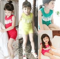 2013 summer lace paragraph girls clothing baby child vest shorts set tz-0408
