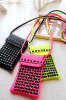 2013 brief neon color rivet iphone5  for SAMSUNG   n7100 5.5 mobile phone bag