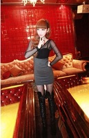 Free shipping . Three-dimensional 8098 sexy tube top patchwork of perspectivity slim one-piece dress
