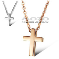 Free Shipping 2013 New HOT SALE Fashion Cross chain Women's 18K gold plated 316L Stainless Steel Necklace for women/girls TY796