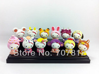 cute hello kitty The 12 Chinese zodiac  Cartoon Figure Toys 12pcs/set  free shipping action figure