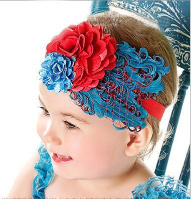 Baby Girl Hair Band Infant Head Pieces Toddler Feather Flower Headband Headwear Chirstmas Gift Free Shipping(China (Mainland))