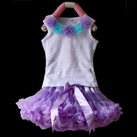 Free shipping Baby clothing,Pettiskirt set,five flowers top+light purple petti skirt ,5sets/lot