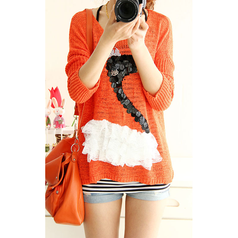 2013 spring sweet little swan pullover sweater loose batwing sleeve sweater outerwear female(China (Mainland))