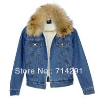 Ssy winter outerwear women's denim cotton-paddedberber fleece liner wadded denim jacket the disassemblability fur collar denim