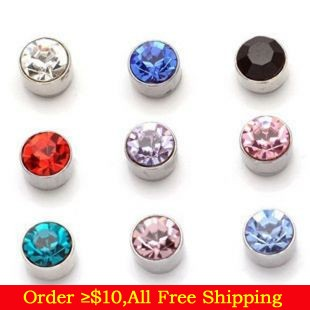 HOT!! NEW!! Fashion Street Style Many Colors Zircon Crystal Magnet Earrings for Men without Ear Hole(China (Mainland))