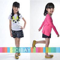 5sets/lot Girls Clothing Set Wholesale Kids Fashion Cartoon Tracksuits Children Cat T shirts + Hot Shorts,Free Shipping K0525