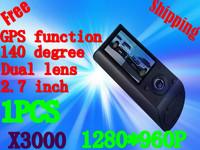Free Shipping CAR DVR,Wholesales Dual Lens Car DVR Camera X3000 With 2.7 LCD, 1080P, GPS Logger& G-Sensor(GD-01)