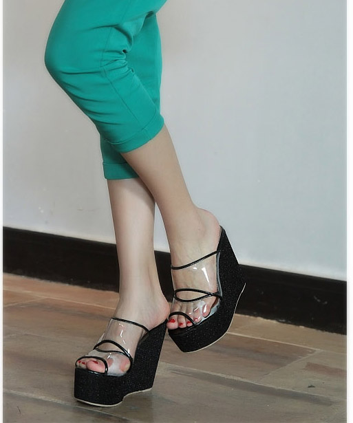 Platform sandals 2013 summer magazine wedges glass glue sandals platform shoes transparent women's shoes high-heeled shoes(China (Mainland))