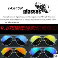 2013 Sunglasses Brand  COLOR  LENS 75th-Year Commemorative Clear Sunglass RB4125 Classic GOGGLES Mirror Lens Best Summer Gifts