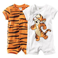 Free shipping 3 pc/lots 3size kid tiger design cartoon boy clothes bodysuits  in the summer  baby clothes