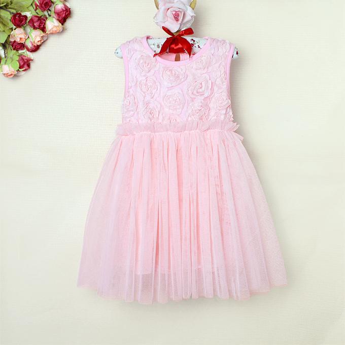 2015 Girls Summer Dress Pink Rose New Fashion Dress For Infant Wear Kids Princess Dress Infant Apparel GD30412-05^^PG(China (Mainland))