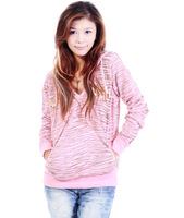 Ok  freeshipping sripng autumn white coffe pink women ladies leopard hoody hooded pullovers outwear sweater top clothing WM15142