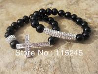 Free Shipping Fashion Rhinestone Cross Crystal Bar Beads Bracelet Wholesale BS139
