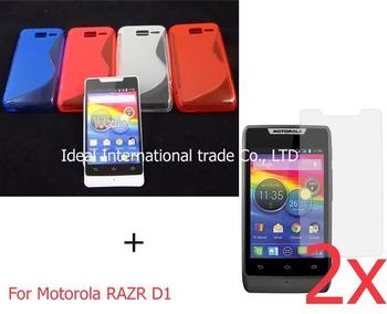 For Motorola RAZR D1,matte soft silicone s line gel tpu case cover+2x screen protector film guard,newest