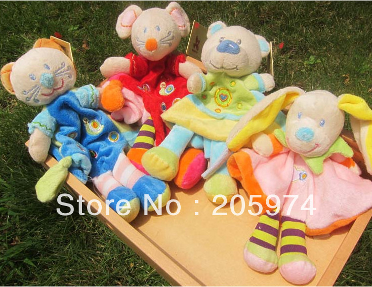Free shipping Nicotoy Cuddle Cloth With Rattle Soft Plush Baby Toy Plush Toys(China (Mainland))