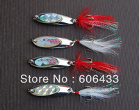 10 pieces Fishing Spoon Lure Treble Feather Hook Spinner wire baits white feather 7g