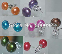 wholesale 20 pairs 8mm 9mm multicolor button freshwater pearl earring 925 silver pearl studs